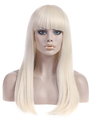 cheap -Synthetic Wig Straight Straight With Bangs Wig Blonde Long Light Blonde Synthetic Hair Women's With Bangs Blonde StrongBeauty