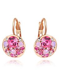 cheap -Women's Cubic Zirconia Drop Earrings Lever Back Earrings Ladies Fashion Zircon Gold Plated Earrings Jewelry Fuchsia / Blue For Wedding Party Daily