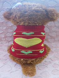 cheap -Dog Sweater Dog Clothes Red / Yellow Mixed Material Costume For Winter