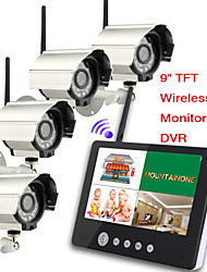 cheap -9 inch 2.4G Wireless four Cameras Audio Video Baby Monitors 4CH Quad DVR Security System With IR night light