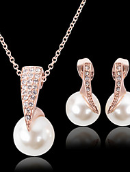 cheap -Pearl Jewelry Set Pendant Necklace Ladies Luxury Party Fashion everyday Pearl Cubic Zirconia Rose Gold Plated Earrings Jewelry Gold For Party Special Occasion Anniversary Birthday Engagement Gift