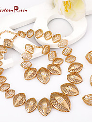 cheap -Jewelry Set Clip on Earring Band Ring filigree Statement Ladies Classic Vintage Party Work 18K Gold Plated Earrings Jewelry Gold For