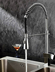 cheap -Kitchen faucet - One Hole Chrome Pull-out / ­Pull-down Deck Mounted Contemporary Kitchen Taps / Brass / Single Handle One Hole