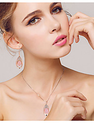 cheap -Crystal Jewelry Set Pendant Necklace Ladies Party Fashion Cubic Zirconia Rose Gold Plated Earrings Jewelry Pink For Wedding Party Special Occasion Anniversary Birthday Engagement