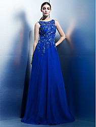 cheap -A-Line Boat Neck Floor Length Chiffon / Beaded Lace Floral / Elegant Prom / Formal Evening Dress 2020 with Appliques