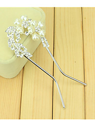 cheap -South Korean Hair Combs The Bride U-Shaped Clip Hairpin Of Comb Drill Two Flowers With Double Needle Twist