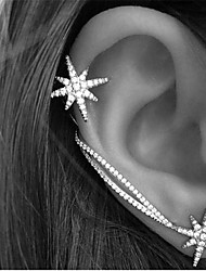 cheap -Women's Crystal Ear Cuff Earrings Ear Climbers Star North Star Ladies Vintage Party Work Casual Simple Style Rhinestone Earrings Jewelry Screen Color For Daily