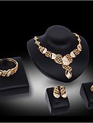 cheap -Lucky Doll Women's Luxury Gem 18K Gold Plated Necklace & Earrings & Bracelet & Ring Suit