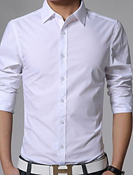 cheap -Men's Plus Size Solid Colored Slim Shirt Business Casual Daily Work Classic Collar White / Black / Yellow / Pink / Light Blue / Spring / Fall / Long Sleeve