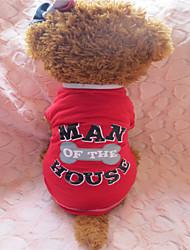 Недорогие -Собака Футболка Одежда для собак Серый / Красный Костюм Хлопок S M