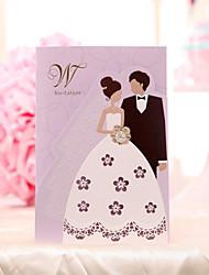 cheap -Tri-Fold Wedding Invitations Invitation Cards Bride & Groom Style Pearl Paper