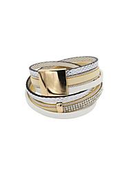cheap -Women's Wrap Bracelet Leather Bracelet Ladies Luxury Unique Design Fashion Leather Bracelet Jewelry Beige / Pink For Wedding Party Daily Casual Sports / Imitation Diamond / Rhinestone