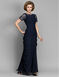 cheap -Sheath / Column Mother of the Bride Dress Elegant Bateau Neck Floor Length Chiffon Short Sleeve with Ruched Beading 2021