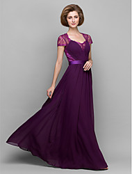 cheap -A-Line Sheath / Column Mother of the Bride Dress Square Neck Floor Length Chiffon Lace Short Sleeve with Lace 2021