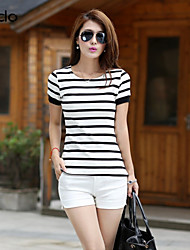 cheap -Women's Daily Street chic Cotton T-shirt - Striped White