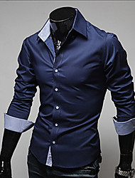 cheap -Men's Plus Size Solid Colored Basic Slim Shirt Business Daily Work Classic Collar Wine / White / Black / Navy Blue / Light Blue / Spring / Fall / Long Sleeve