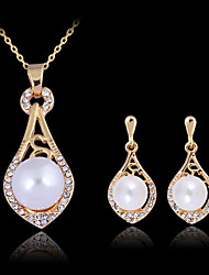 cheap -Jewelry Set Luxury Party Work Pearl 18K Gold Earrings Jewelry Gold For