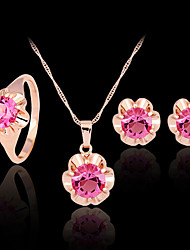 cheap -Cubic Zirconia Jewelry Set Stud Earrings Pendant Necklace Ladies Party Work Colorful Zircon Cubic Zirconia Rose Gold Plated Earrings Jewelry Gold / Fuchsia For / Imitation Diamond / Rings Set