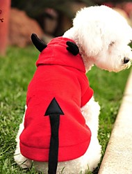 cheap -Cat Dog Costume Hoodie Winter Dog Clothes Red Costume Polar Fleece Vampires Cosplay Halloween XS S M L XL