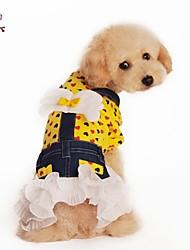 cheap -Dog / Cat Dress Yellow / Rose Summer Jeans / Hearts Wedding / Cosplay
