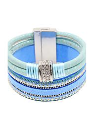 cheap -Women's Leather Bracelet Ladies Luxury Leather Bracelet Jewelry Beige / Blue For Wedding Party Daily Casual Sports / Imitation Diamond / Rhinestone