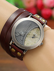 cheap -Women's Ladies Wrist Watch Wrap Bracelet Watch Analog Quartz Eiffel Tower / Leather