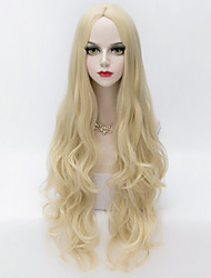 cheap -european style long loose wavy u part hair light blonde synthetic party wig