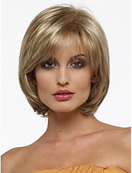cheap -Synthetic Wig Straight Straight Bob With Bangs Wig Blonde Short Blonde Synthetic Hair Women's Side Part Blonde StrongBeauty