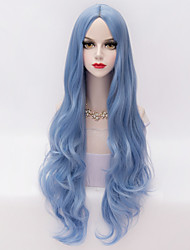 cheap -long loose wavy u part hair sky blue heat resistant synthetic fashion party wig