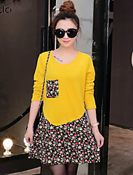cheap -Women's Short Mini Dress A-Line Dress - Long Sleeve Modern Style Floral Fall Chic & Modern Daily Wine Black Purple Yellow Red Light Green Army Green Fuchsia Orange Royal Blue M L XL