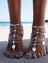 cheap -Women's Anklet Barefoot Sandals feet jewelry Layered Tassel Stacking Stackable Ladies Tassel Vintage Party Work Anklet Jewelry Gold / Silver For Party Beach