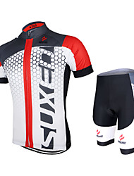 cheap -Arsuxeo Men's Women's Short Sleeve Cycling Jersey with Shorts Polyester Elastane White+Red Bule / Black Black / Green Gradient Bike Shorts Jersey Clothing Suit Breathable Quick Dry Anatomic Design