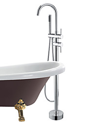 cheap -Bathtub Faucet - Contemporary Chrome Tub And Shower Ceramic Valve Bath Shower Mixer Taps / Single Handle One Hole