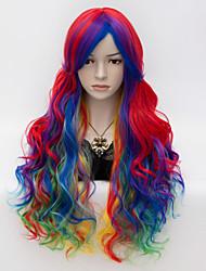 cheap -long red mixed yellow 75cm curly fashion cosplaylolita punk rock harajuku wig Halloween