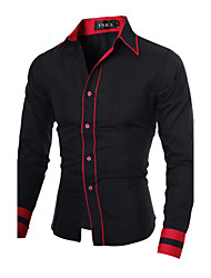 cheap -Men's Daily Work Business Plus Size Slim Shirt - Color Block Black & Red, Basic Spread Collar Black / Long Sleeve / Spring / Fall