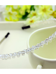 cheap -South Korea Imported Hairpin Rhinestone Beaded Head Hoop Decorations Double Row Crystal Hair Band Transparent White
