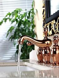 cheap -Art Deco/Retro Widespread Ceramic Valve Two Handles Three Holes Rose Gold, Bathroom Sink Faucet
