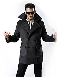 cheap -Men's Long Sleeve Regular Trench coat , Cashmere/Lycra/Microfiber/Polyester Pure