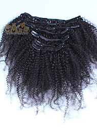 cheap -Clip In Human Hair Extensions Curly Afro Kinky Curly Human Hair Peruvian Hair Natural Black