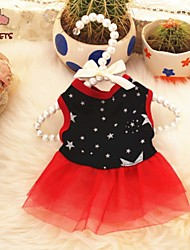 cheap -Cat Dog Dress Dog Clothes Black Costume Terylene Stars Casual / Daily XS S M L