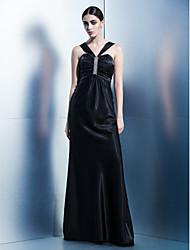 cheap -Sheath / Column Formal Evening Dress Halter Neck Sleeveless Floor Length Charmeuse with Crystals 2021