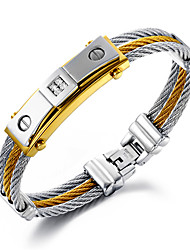 cheap -Men's Chain Bracelet Layered Personalized Luxury Hip-Hop Multi Layer 18K Gold Plated Bracelet Jewelry Gold / Silver For Christmas Gifts Wedding Party Daily Casual Sports / Stainless Steel