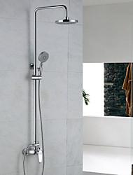 Недорогие -смеситель для душа / современный / для дождя / хромированный душ / керамический клапан комплект для душа / из латуни / с одной ручкой, два отверстия