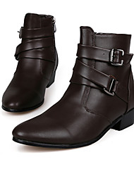 cheap -Men's Comfort Shoes Fall / Winter Vintage / British Party & Evening Outdoor Office & Career Boots Walking Shoes Microfiber Height-increasing 10.16-15.24 cm / Booties / Ankle Boots White / Brown
