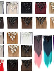 Недорогие -Клип во / на Расширения человеческих волос Прямой Классика Искусственные волосы Накладки из натуральных волос Жен. # 627