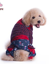cheap -Cat Dog Coat Pants Plaid / Check Jeans Cosplay Wedding Outdoor Winter Dog Clothes Red Green Costume Polar Fleece Cotton S M L XL XXL