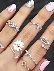 cheap -Knuckle Ring Stacking Stackable Gold Silver Rhinestone Imitation Diamond Alloy Leaf Flower Ladies Unusual Unique Design 3pcs / Women's / Rings Set