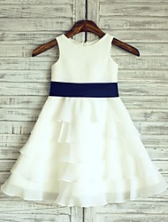 cheap -A-Line Knee Length Wedding / First Communion Flower Girl Dresses - Chiffon / Satin Sleeveless Scoop Neck with Sash / Ribbon
