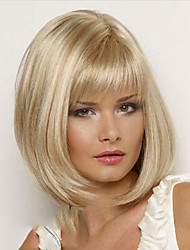 cheap -Synthetic Wig Straight Straight Bob With Bangs Wig Blonde Short Blonde Synthetic Hair Women's Side Part With Bangs Blonde