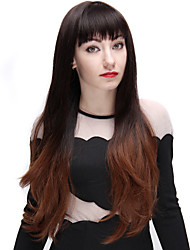 cheap -ombre wigs black and light brown 28 inch long fashion wave synthetic wig with full bangs